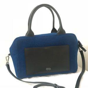 FRANCES VALENTINE BLUE WOOL LEATHER SATCHEL BAG